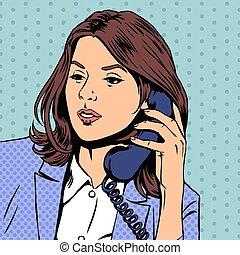 スタイル, 女性実業家, イラスト, 話し, ベクトル, 電話。, レトロ, pop-art