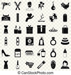 スタイル, 女, アイコン, セット, 香水, 単純である