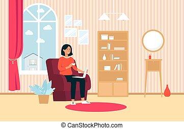 スタイル, 女, カップ, ラップトップ, モデル, 家, 椅子, 漫画