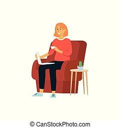 スタイル, 女, カップ, ラップトップ, モデル, 椅子, 漫画