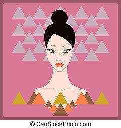 スタイル, 女, 幾何学的, 若い, 背景, 流行, 80s, 顔, 暗い, shapes., ピンク, 美しい, 三角形