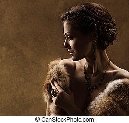 スタイル, 女, 毛皮, 型, コート, レトロ, 贅沢