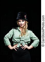 スタイル, 女, 美しさ, 若い, 布, ファッション, 軍, 肖像画, モデル