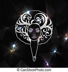 スタイル, 女, african., 才知に長けている, 毛, バックグラウンド。, vector., 肖像画, luxuriant