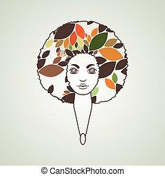 スタイル, 女, african., 毛, パターン, vector., hair., 肖像画, luxuriant