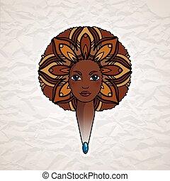 スタイル, 女, african., 毛, 肖像画, luxuriant, vector.