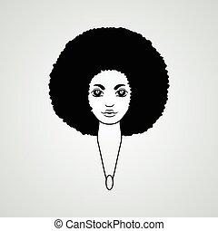 スタイル, 女, vector., 毛, african., 肖像画, luxuriant