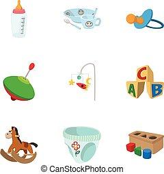 スタイル, 子供, アイコン, セット, おもちゃ, 漫画