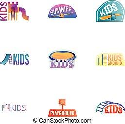 スタイル, 子供, セット, 運動場, ロゴ, 漫画, 娯楽