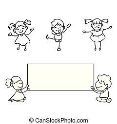 スタイル, 子供, ハンドセット, スティック, lineart, 図画, マッチ, 幸せ