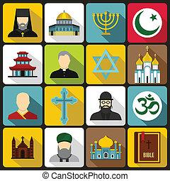 スタイル, 宗教, セット, シンボル, アイコン, 平ら