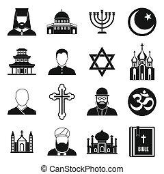 スタイル, 宗教, セット, シンボル, 単純なアイコン