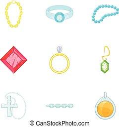 スタイル, 宝石類, 金, アイコン, セット, 銀, 漫画