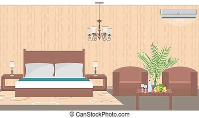 スタイル, 家具, 部屋, houseplant, ホテル, 空気, 贅沢, 調整剤, 内部, 東