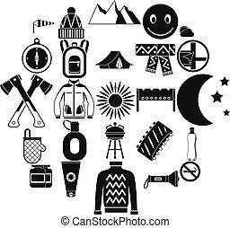 スタイル, 家族のキャンプ, アイコン, セット, 単純である