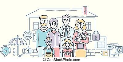 スタイル, 家族, カラフルである, -, イラスト, 保護, デザイン, 線