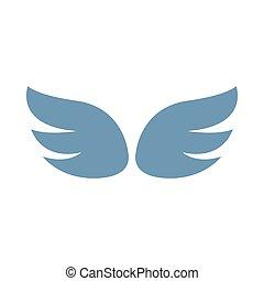 スタイル, 対, 灰色, 翼, 単純である, アイコン