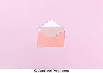 スタイル, 封筒, 小さい, ウェブサイト, 中, 光景, 位置, 店, ライラック, 珊瑚, 背景, horizontal., mockup., 空, 最小である, 媒体, space., 社会, コピー, design., 上, 贈り物, 平ら, カード