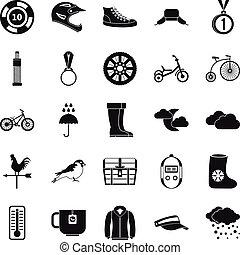スタイル, 屋外, アイコン, セット, スポーツ, 単純である