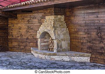 スタイル, 屋外, 古い, 家, 建築, 料理, 暖炉, ストーブ