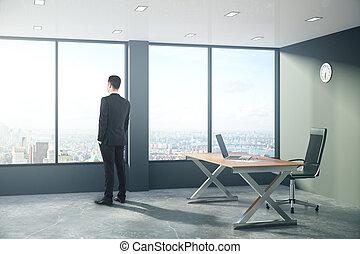 スタイル, 屋根裏, オフィス, 現代, 見る, 窓, ビジネスマン, から