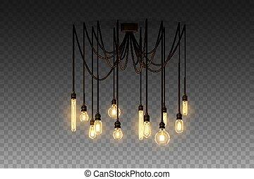 スタイル, 屋根裏, lamp., 現実的, ベクトル, 白熱, 掛かること