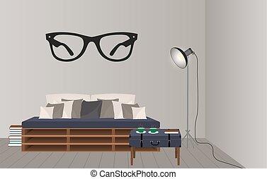 スタイル, 屋根裏, mockup, lamp., concept., 床, 情報通, インテリア・デザイン