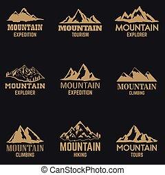 スタイル, 山, デザイン, ロゴ, 紋章, 印。, ラベル, アイコン, 隔離された, セット, 暗い, 要素, 金, バックグラウンド。