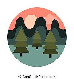 スタイル, 山, 太陽, 木, アイコン, 風景, フィールド, 群葉, 自然, 平ら