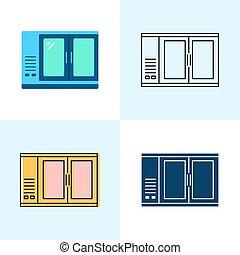 スタイル, 平ら, セット, バー, 線, 冷蔵庫, アイコン