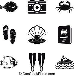 スタイル, 床, セット, アイコン, 海洋, 単純である
