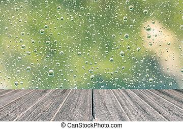 スタイル, 床, 木製である, 型, ガラス。, 雨滴