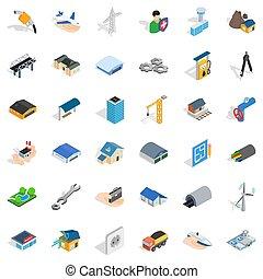 スタイル, 建設, 等大, セット, アイコン, 産業
