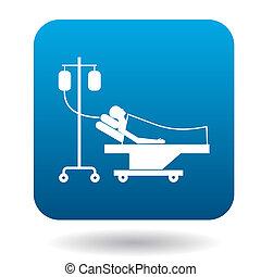 スタイル, 患者, 単純である, 滴り, ベッド, アイコン