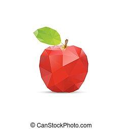 スタイル, 抽象的, 幾何学的, origami, ベクトル, apple.