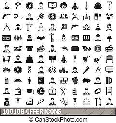 スタイル, 提供, セット, アイコン, 単純である, 仕事, 100