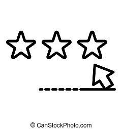 スタイル, 星, アウトライン, 投票, アイコン, クリック