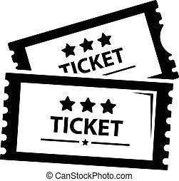 スタイル, 映画館, 単純である, 黒, アイコン, 切符