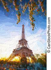スタイル, 春, エッフェル, パリ, フランス, 時間, の間, アートワーク, タワー