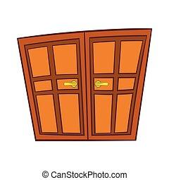スタイル, 木製である, 二重ドア, アイコン, 漫画