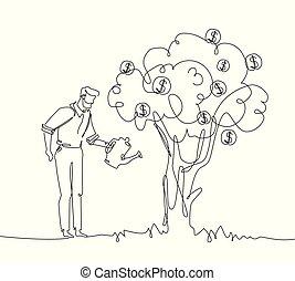 スタイル, 木, 水まき, -, イラスト, 1(人・つ), デザイン, お金, ビジネスマン, 線