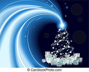 スタイル, 木, 現代, 背景, クリスマス