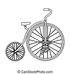 スタイル, 株, wheel., シンボル, 別, アウトライン, 自転車, bicycle., アイコン, ベクトル, 型, 巨大, 単一, illustration., 最初に, 小さい
