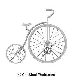 スタイル, 株, wheel., シンボル, 別, 自転車, bicycle., アイコン, ベクトル, 型, 巨大, モノクローム, 単一, illustration., 最初に, 小さい