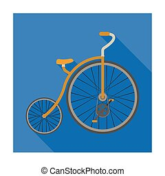 スタイル, 株, wheel., シンボル, 別, 自転車, bicycle., アイコン, ベクトル, 型, 巨大, 平ら, 単一, illustration., 最初に, 小さい