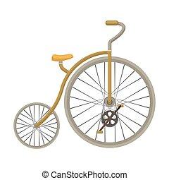 スタイル, 株, wheel., シンボル, 別, 自転車, bicycle., アイコン, ベクトル, 型, 巨大, 漫画, 単一, illustration., 最初に, 小さい