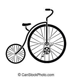 スタイル, 株, wheel., シンボル, 別, 黒, 自転車, bicycle., アイコン, ベクトル, 型, 巨大, 単一, illustration., 最初に, 小さい