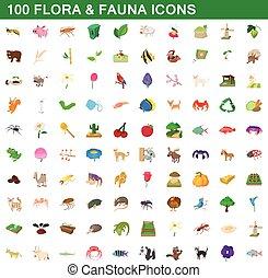 スタイル, 植物相, アイコン, セット, 動物群, 100, 漫画