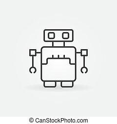 スタイル, 概念, アウトライン, ロボット, ベクトル, アイコン