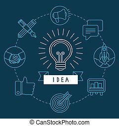 スタイル, 概念, アウトライン, 考え, 創造的, ベクトル